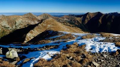 Výhled z Barance na Plačlivé, Ostrý Roháč, Hrubý vrch a Jakubinou