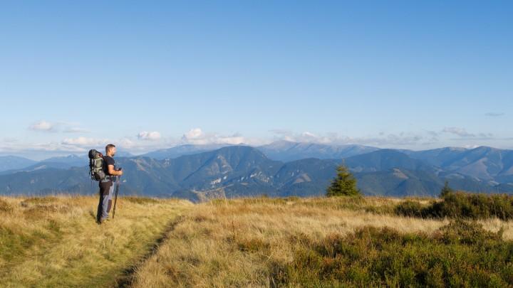 Výhled na hřeben Nízkých Tater z luk pod vrcholem Malá Smrekovica