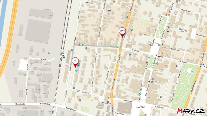 Martin - cesta ze zastávky MHD Hlavná pošta na autobusové nádraží